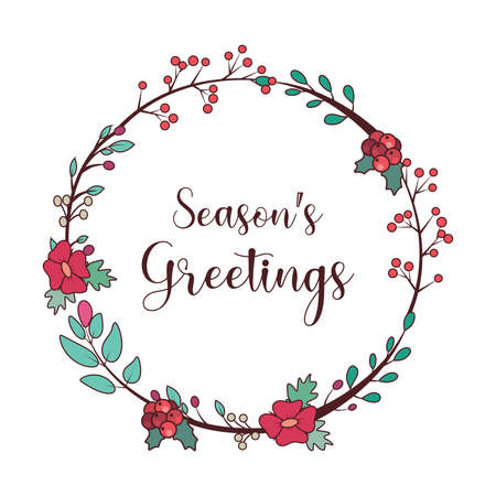 Seasons greetings with a lovely wreath and text