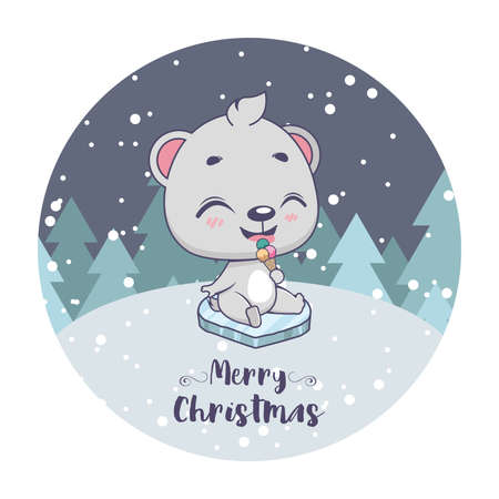 Christmas greeting with a cute little polar bear Illusztráció