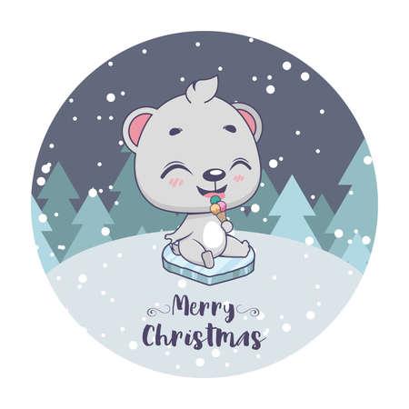 Christmas greeting with a cute little polar bear Illustration