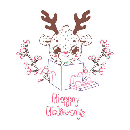 Happy Holidays greeting in lineart style with a cute reindeer