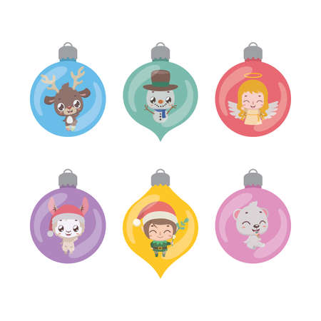 Collection of various baubles with Christmas characters Illustration