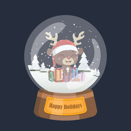 Christmas snowglobe with cute reindeer and presents inside