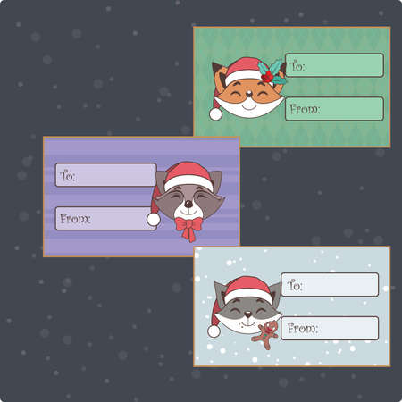 Set of cute Christmas tags with animals Illustration