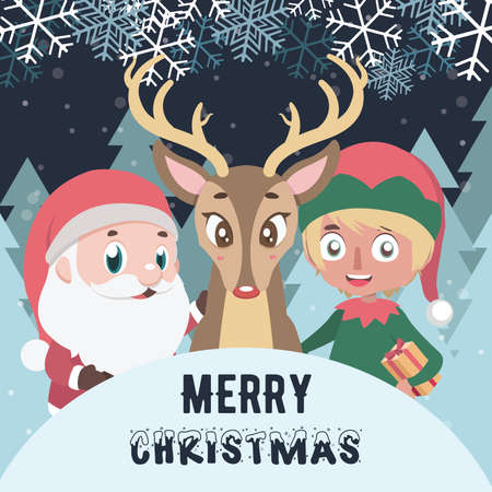 Merry Christmas greeting with Santa, elf and reindeer Illustration