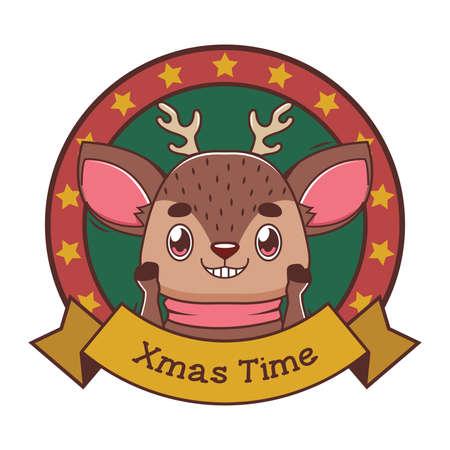 Funny Christmas greeting with cartoon reindeer