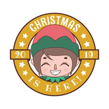 Funny Christmas greeting with cute cartoon elf