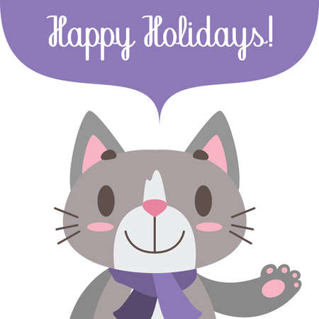 Simple Holiday greeting with cute cat