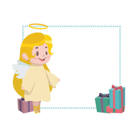 Christmas border decor with little angel Illustration