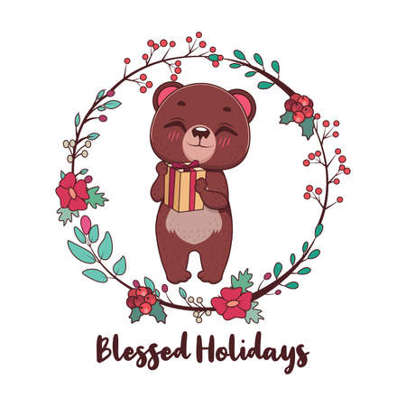 Blessed Holidays greeting with cute bear and wreath Illustration