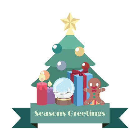 Seasons greeting banner with Christmas elements Illustration