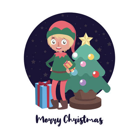 Christmas greeting with elf helper