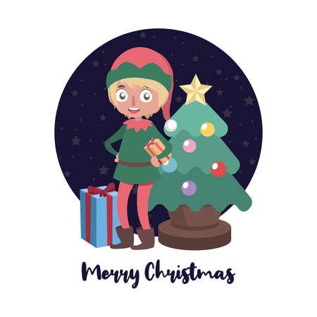 Christmas greeting with elf helper