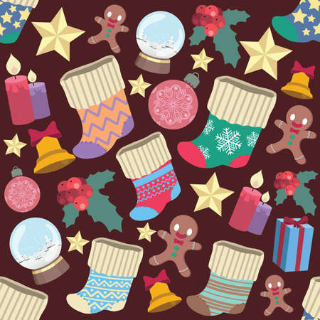 Seamless pattern background with various Christmas elements Illustration