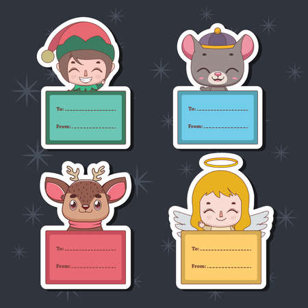 Set of Christmas gift tags with various characters Illusztráció