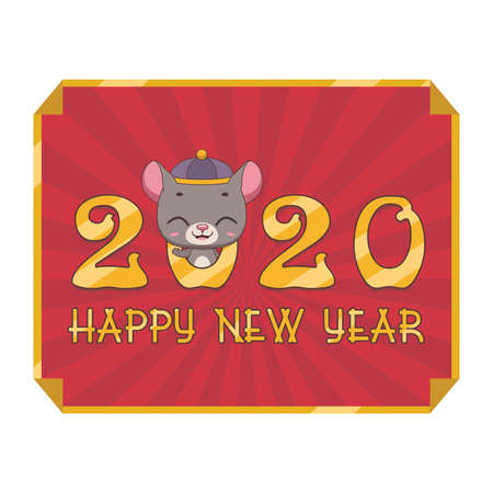 Happy Chinese New Year 2020 with cute rat Illustration