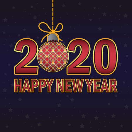 Happy New Year 2020 greeting Illustration