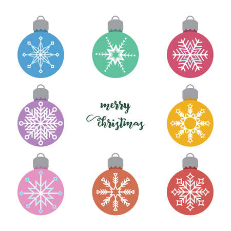 Set of various Christmas baubles with snowflake pattern Illustration