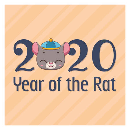 Chinese New Year greeting with cute rat face