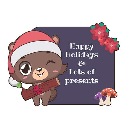 Funny Christmas greeting with cute cartoon beaver Illustration