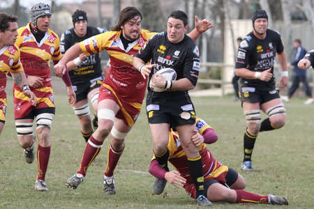 Rugby match action