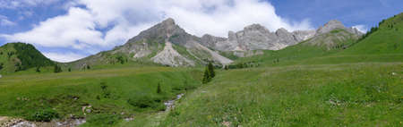 medow: Panoramic view of Dolomites Alps Italy