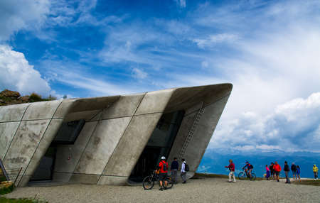 17 august 2016 (Plan de Corones, north Italy): Tourists at the entrance of the Messner Mountain Museum Corones