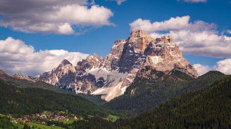 Scenic view of Pelmo Mountain (italian dolomites) against blue sky