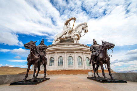 mongols: Ulan-Bator,Mongolia - May 17, 2015: The worlds largest statue of Chinghis Khan
