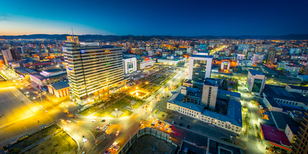 sightseeng: Ulan-Bator, Mongolia - May 16, 2015: Night view at the streets of the capital of Mongolia. Editorial