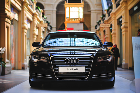 agression: Moscow, Russia  - SEPTEMBER 2010: An Audi A8 exhibited in GYM, Moscow.