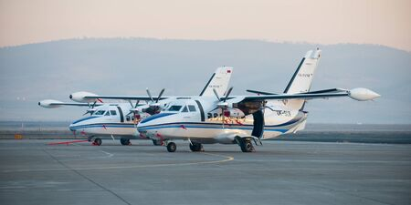 ulan ude: Ulan-Ude, Russia - April 22, 2014: New white Let 410 airplane parked at the airport Baikal.