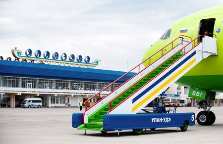 Some gangway of the plane at the airport Baikal in Russia 新聞圖片