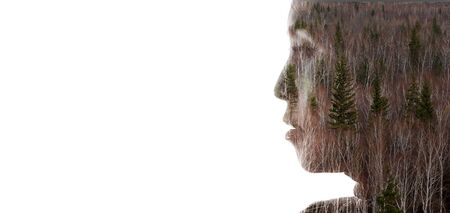 head profile: Double exposure portrait of a woman combined with photograph of nature