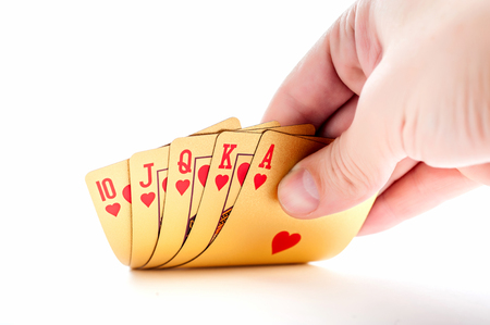 jack of diamonds: Golden playing poker cards on white background Stock Photo