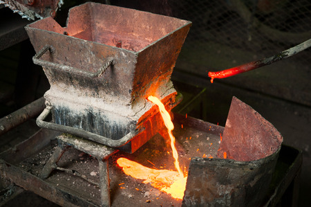 smelter: Siberia, Russia - August 13, 2014: molting gold at a factory Editorial