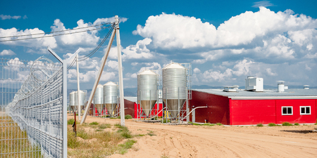 grain storage: Storage for grain at a meat factory Stock Photo