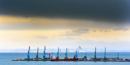 sakhalin: a row of crane at the seaport in Sakhalin island