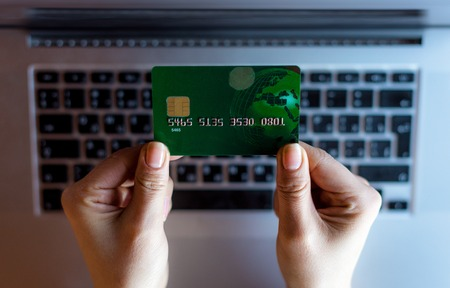 card making: Close up of a bank card. Making online payments