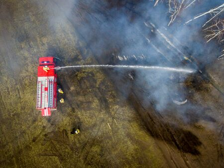 extinguish: A firefighter extinguish a fire in the forest with a water hose Stock Photo