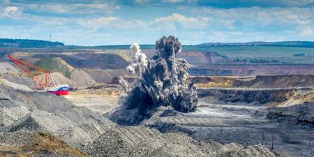 dragline: Explosive works on a coal mine open pit