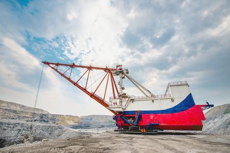 open pit: Dragline on open pit coal mine in Russia Stock Photo