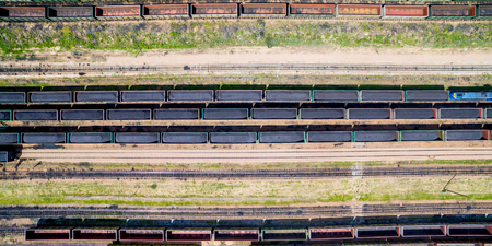 loaded: Top view of a train loaded with coal