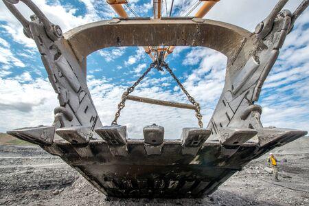 Huge empty ladle at coal open pit