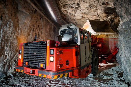 ore: Loading truck with golden ore underground. russia.