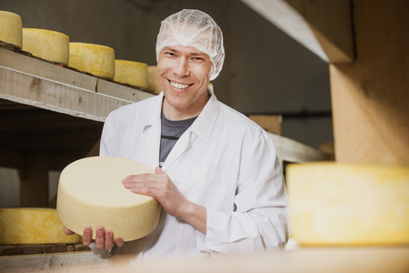 creamery: Producing fresh cheese at factory in Russia