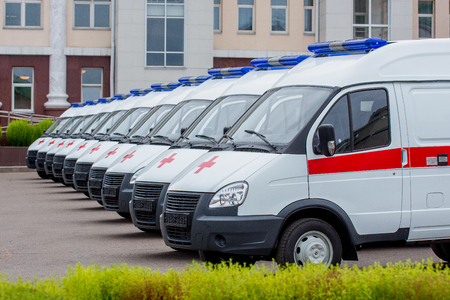 Ulan-Ude, Russia - September 7, 2016: New ambulance cars waiting in line to be delivered for a hospital