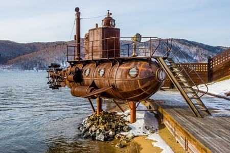 Old submarine near lake Baikal in Russia Standard-Bild