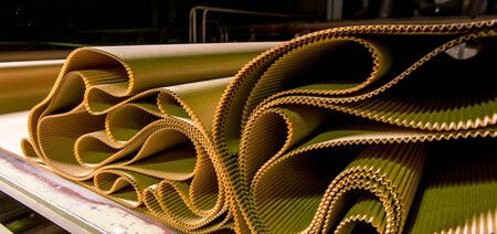 Closeup image of pleat cardboard row at factory background Stock Photo