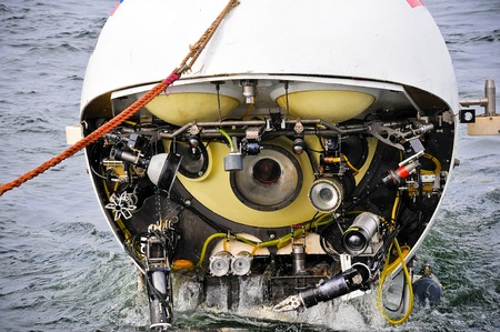 diving save: Scientific submarine at expedition researching deep water