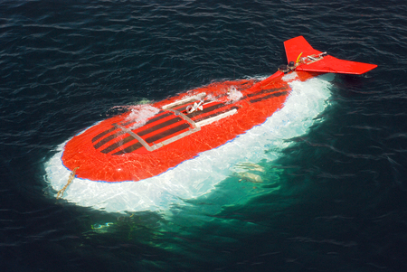 habitable: Scientific submarine at expedition researching deep water